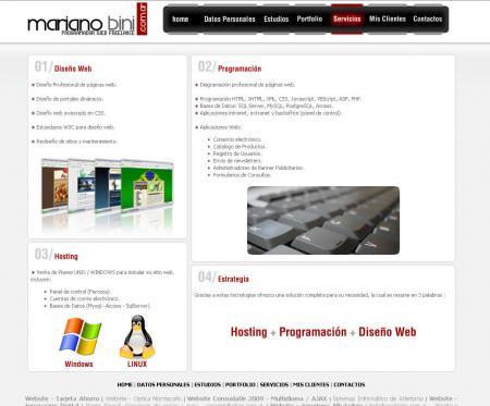 Pagina de servicios ofrecidos