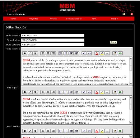 Administrador de presentación en mbm