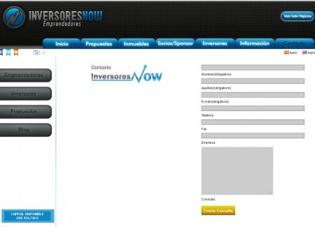 Formulario de contacto de inversoresnow.com