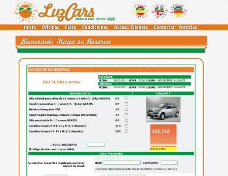 Formulario de reserva de coches de luzcars.com