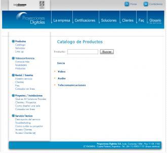 Pagina del catalogo web de proyecciones.net